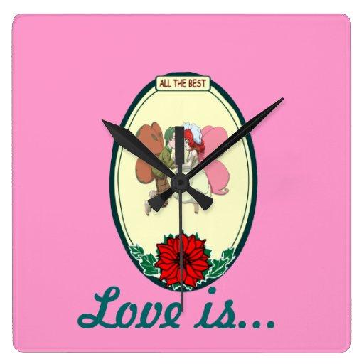 El amor es… par de hadas reloj cuadrado