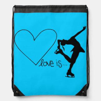 El amor es patinaje artístico, corazón, mochila, mochilas