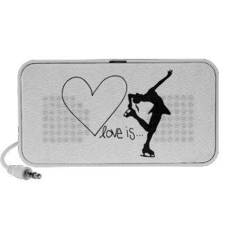 El amor es patinaje artístico, patinador del chica altavoces de viajar