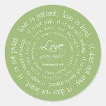 El amor es pegatina cristiano paciente del verde