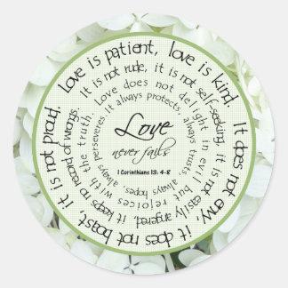 El amor es pegatina floral paciente del boda de la