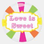 El amor es pegatina lindo dulce de la comida fría