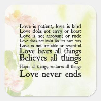 El amor es pegatina paciente de las flores de la