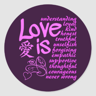 El amor es… pegatinas etiquetas redondas