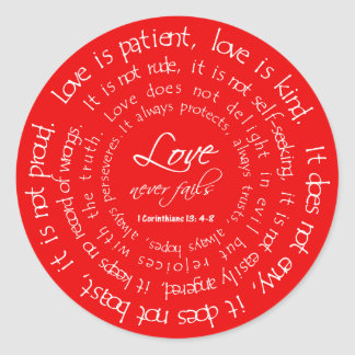 El amor es pegatinas cristianos rojos pacientes pegatina redonda
