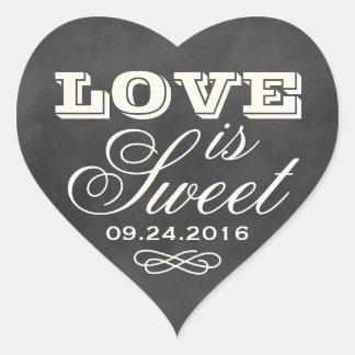 El amor es pizarra dulce del vintage del pegatina