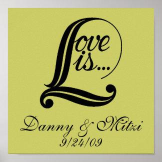 El amor es…. placa personalizada de la lona póster