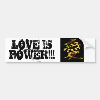El amor es poder pegatina para auto