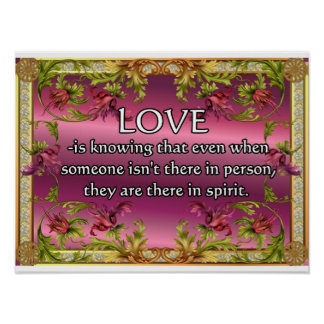 El amor es ..... poema en la parte posterior de la poster