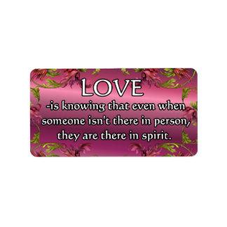 El amor es ..... poema en la parte posterior de la etiquetas de dirección
