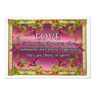 El amor es ..... poema en la parte posterior de la invitación