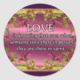 El amor es ..... poema en la parte posterior de la etiqueta redonda