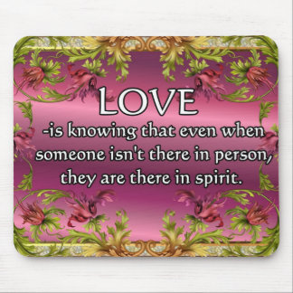 El amor es ..... poema en la parte posterior de la alfombrillas de raton
