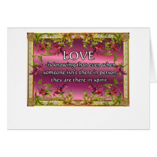 El amor es ..... poema en la parte posterior de la tarjeton