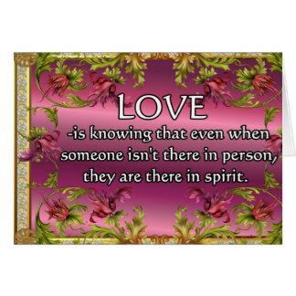 El amor es ..... poema en la parte posterior de la felicitación