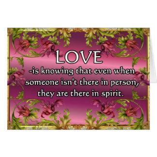 El amor es ..... poema en la parte posterior de la felicitacion