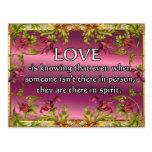 El amor es ..... poema en la parte posterior de la postal