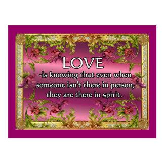 El amor es ..... poema en la parte posterior de la tarjeta postal