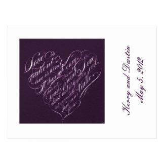 El amor es postal Paciente-Púrpura de RSVP del cor