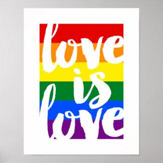 El amor es poster de motivación del orgullo gay póster