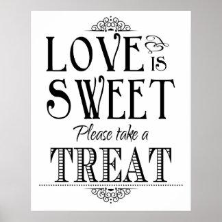 El amor es poster dulce de la muestra del boda