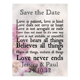 El amor es reserva púrpura paciente de la flor la tarjetas postales