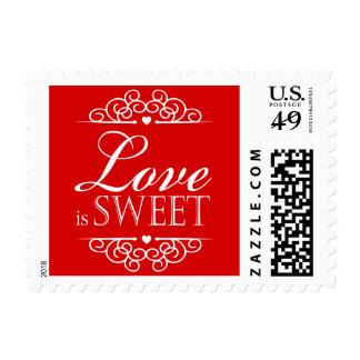 El amor es rojo dulce de la tipografía el | del sello