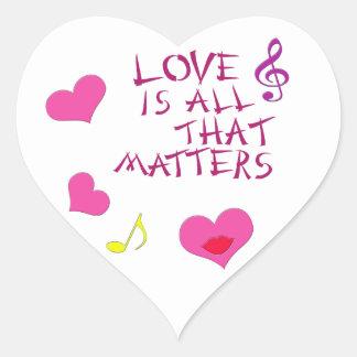 El amor es todo ese las materias calcomanía de corazón