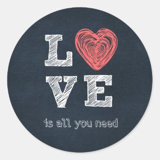 El amor es todo lo que usted necesita cita etiqueta redonda