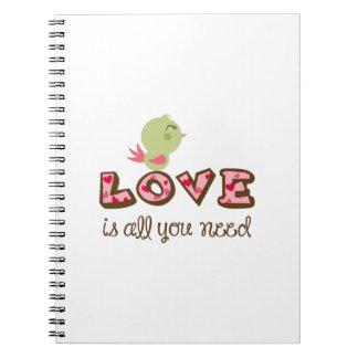 el amor es todo lo que usted necesita cuaderno
