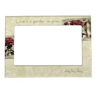 El amor es un jardín que crecemos rosas marcos magneticos de fotos