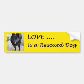 El amor es un perro rescatado pegatina de parachoque