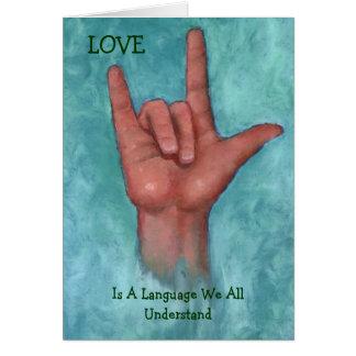 El amor es una lengua nosotros que todo entiende tarjeta de felicitación