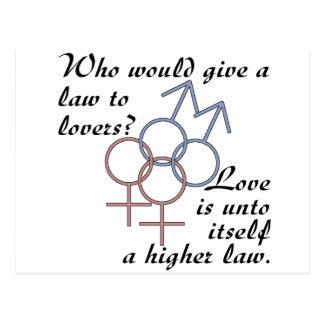 El amor es una ley más alta tarjeta postal