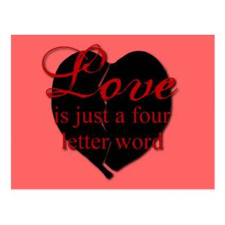 El amor es una palabra de cuatro letras tarjetas postales