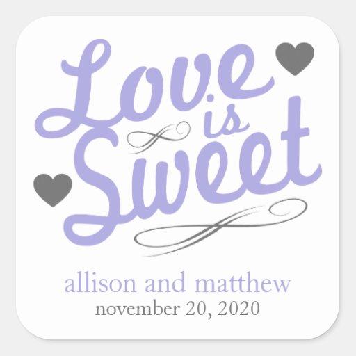 El amor es viejas etiquetas dulces de Fashioined Pegatina Cuadradas Personalizadas