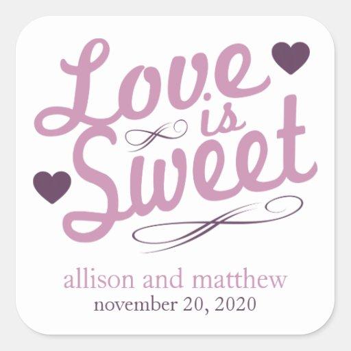 El amor es viejas etiquetas dulces de Fashioined ( Colcomanias Cuadradases