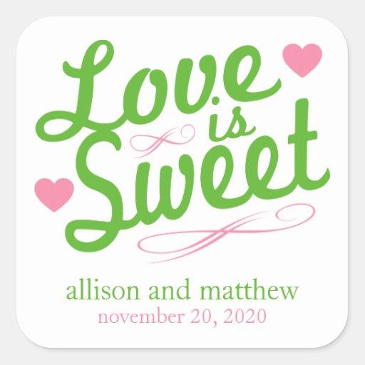 El amor es viejas etiquetas dulces de Fashioined Colcomanias Cuadradas Personalizadas