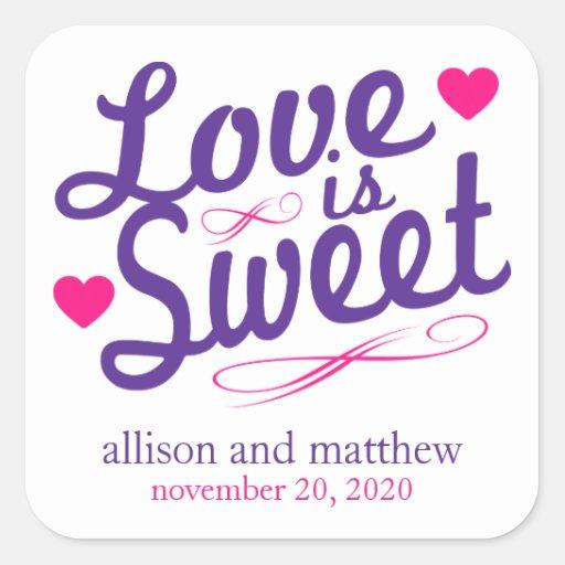 El amor es viejas etiquetas dulces de Fashioined Pegatinas Cuadradases