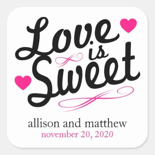 El amor es viejas etiquetas dulces de Fashioined Pegatina Cuadradas