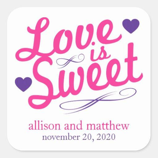 El amor es viejas etiquetas dulces de Fashioined Calcomanía Cuadradas Personalizadas