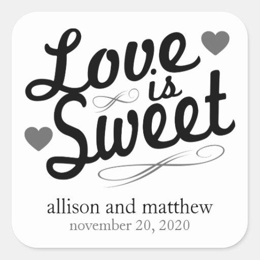 El amor es viejas etiquetas dulces de Fashioined Calcomanía Cuadradas