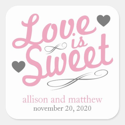 El amor es viejas etiquetas dulces de Fashioined Calcomanía Cuadrada