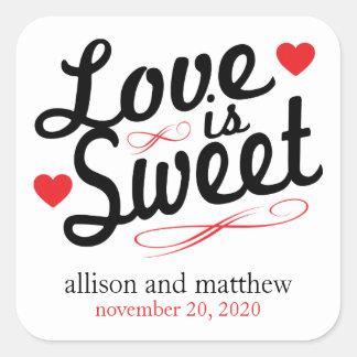 El amor es viejas etiquetas dulces de Fashioined Calcomanía Cuadradas Personalizada