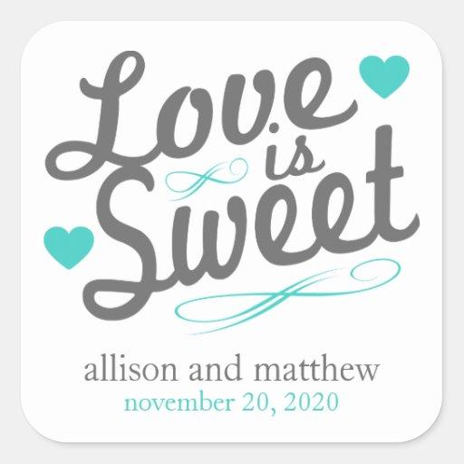 El amor es viejas etiquetas dulces de Fashioined ( Pegatina Cuadradas