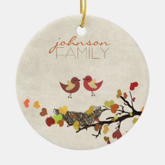 El amor está en el aire adorno navideño redondo de cerámica