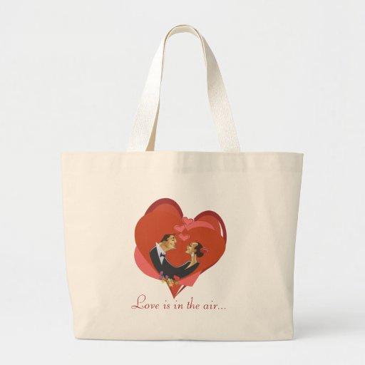 El amor está en el aire bolsa tela grande