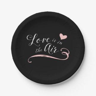 El amor está en el aire - estilo de la pizarra del plato de papel de 7 pulgadas