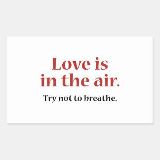El amor está en el aire pegatina rectangular