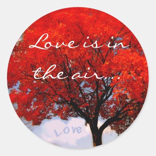 El amor está en el aire… pegatina redonda